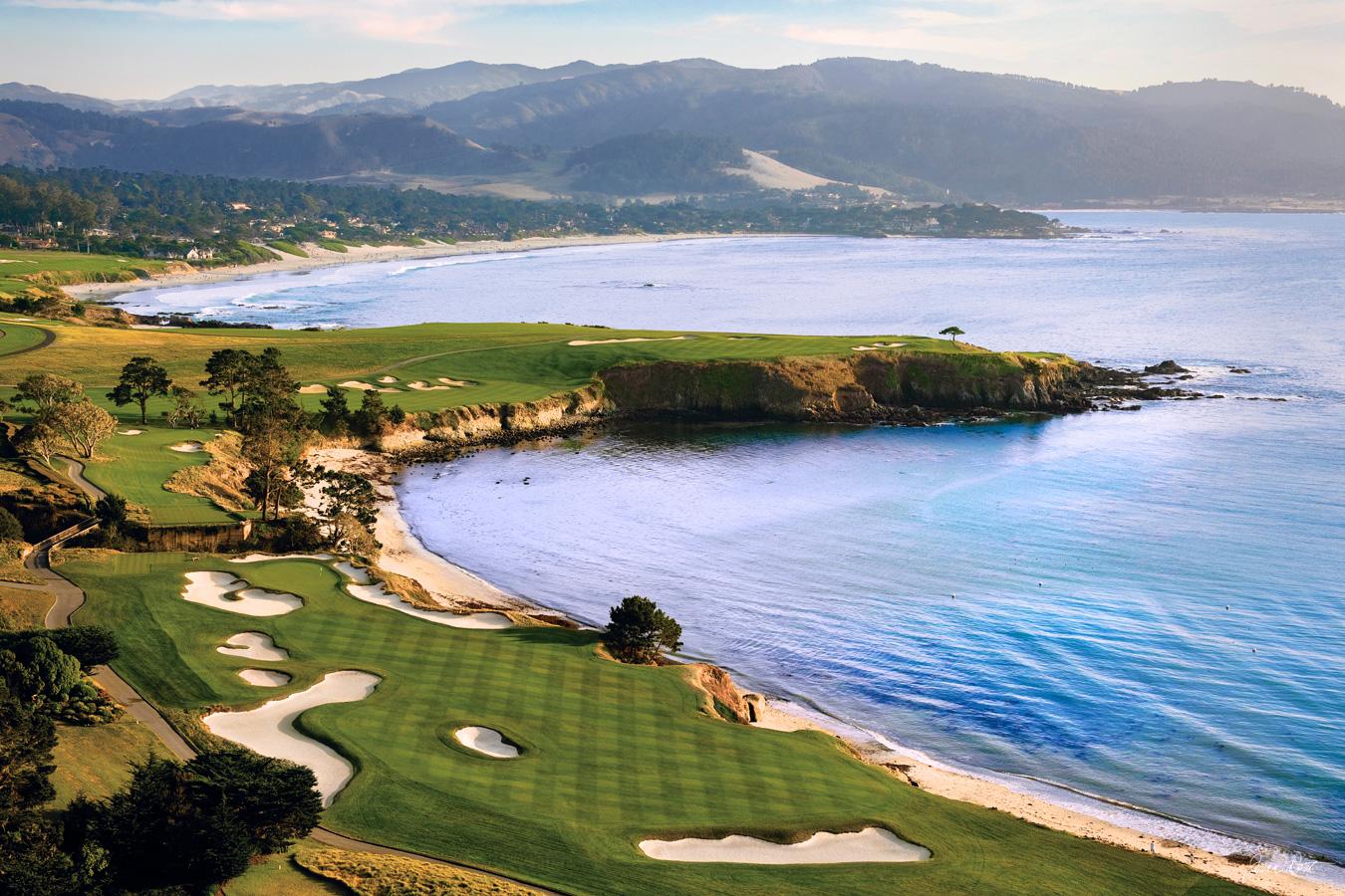 Pebble Beach Golf Links, Aerial 2 - Joann Dost Golf Editions